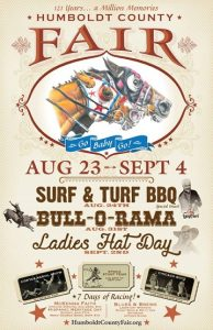 """""""Humboldt County Fair - Surf & Turf BBQ, Bull-O-Rama"""" Oval drawing of 2 horse heads, small fair-themed drawings on cream poster"""