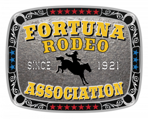 Silver belt buckle with bucking bronco silhouette, black/silver scrolls and red stars rim. Gold text: Fortuna Rodeo Association Since 1921