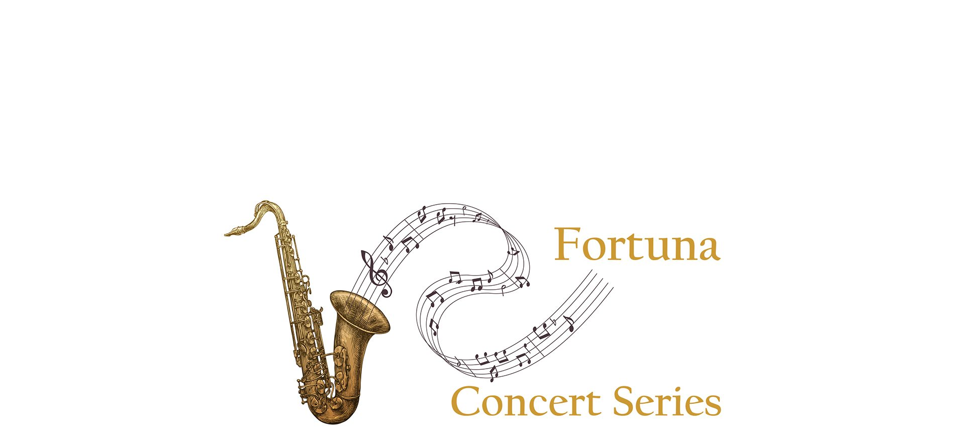 bronze saxophone with notes spilling out text: Fortuna Concert Series
