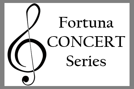 """gray frame around large treble clef with black text: """"Fortuna Consert Series"""""""