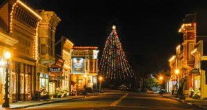 Ferndale Ca Holiday Lights and Tallest Christmas Tree at night