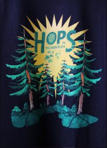 Hops in Humboldt graphic with gold starburst flanked by redwood trees