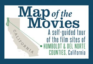 Map of the Movies Self-guided Tour of film sites in Humbodt & Del Norte Co. with gray map of California