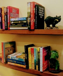 two wood shelves with colorful books placed vertically and horizontally, black bear figurine on top shelf