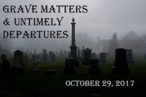 Grave Matters & Untimely Departures against background of cemetery at night