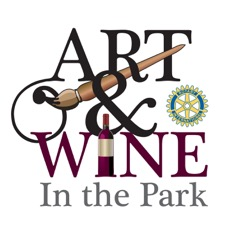 """Logo: Black and burgundy text: """"Art & Wine in the Park"""", wooden paintbrush, wine bottle as """"i"""", Rotary insignia"""