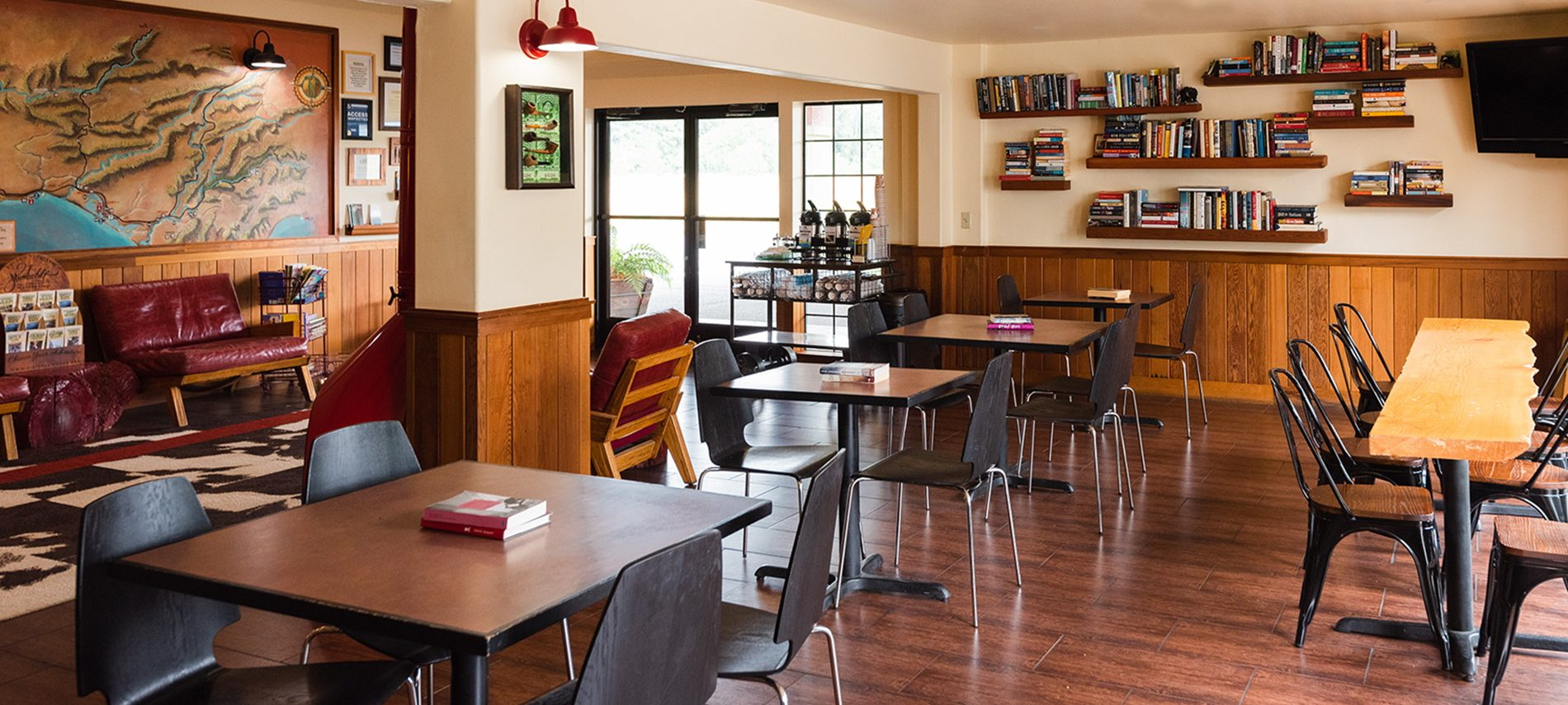 breakfast area with square tables,, black & red chairs, redwood riverwalk hotel