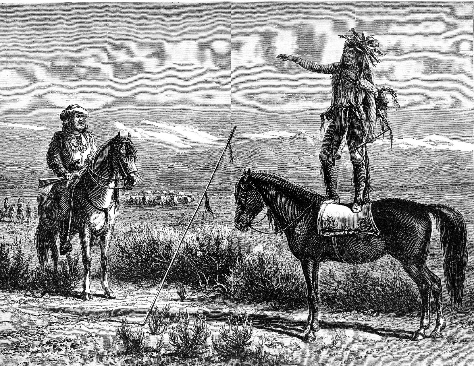 Black and white sketch of native american standing on horse talking to European explorer on horseback