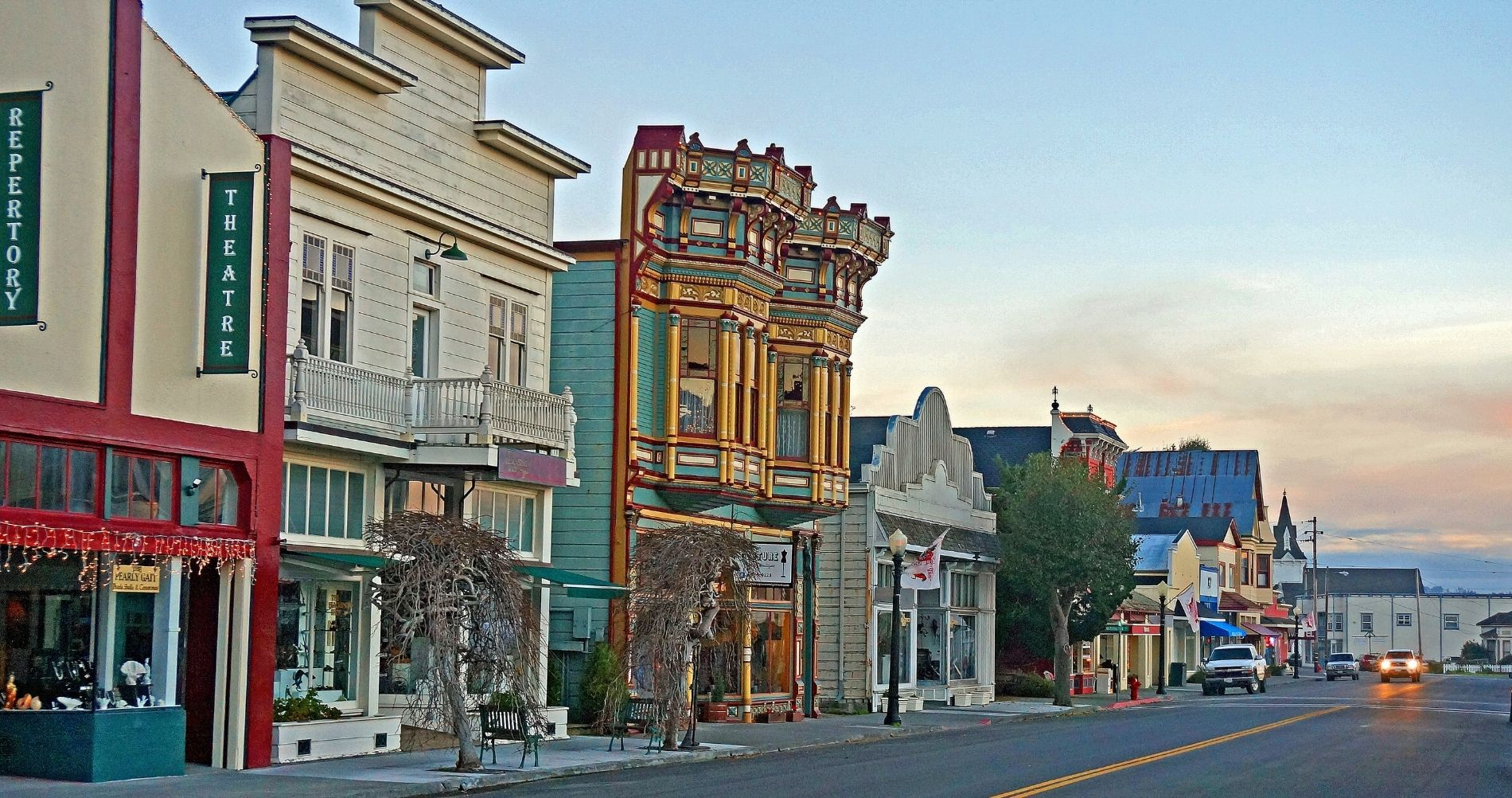 Downtown Ferndale CA with 19th century Victorian-style buildings