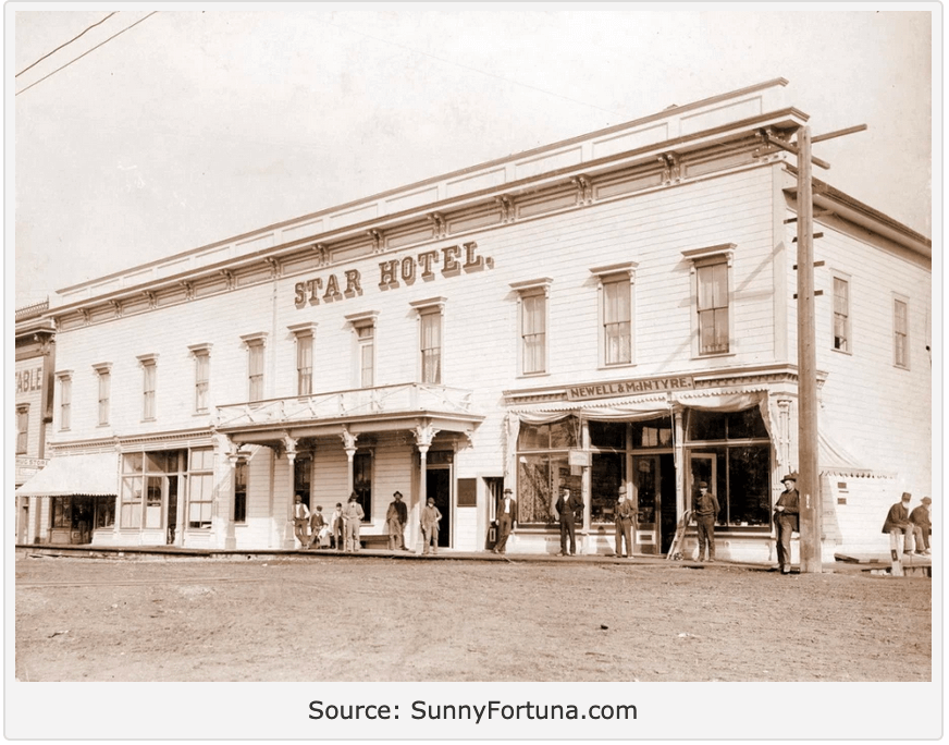 Black and white photograph of old Star Hotel downtown Fortuna