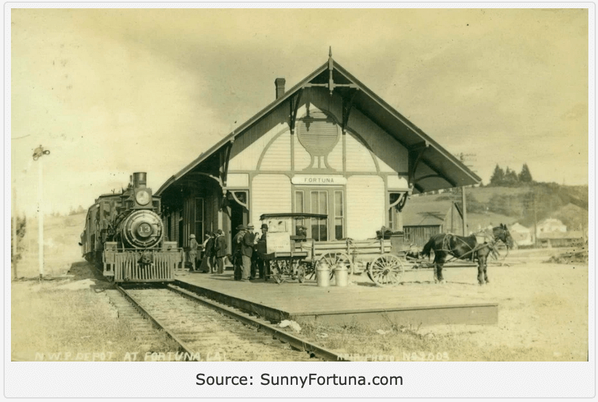 Bllack and white photograph of old train depot in Fortuna CA